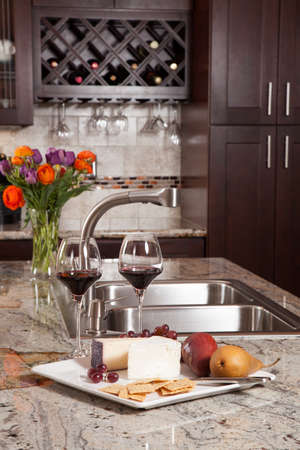 domestic kitchen: Modern house new contemporary luxury custom kitchen and refreshments on exotic granite countertop