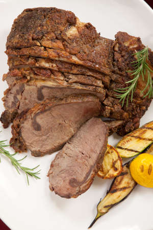 rib eye: Herbed Rib Eye with grilled vegetables and two sauces  Stock Photo