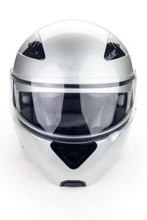 High quality light gray motorcycle helmet over white background, studio isolated Фото со стока - 20705182