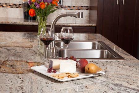 granite kitchen: Modern house new contemporary luxury custom kitchen and refreshments on exotic granite countertop
