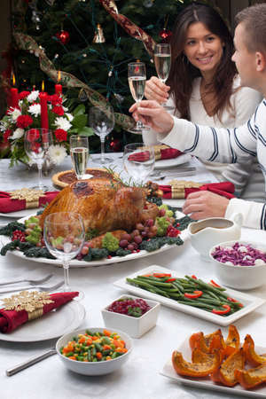 Young couple celebrates Christmas turkey dinner by the Christmas tree  photo