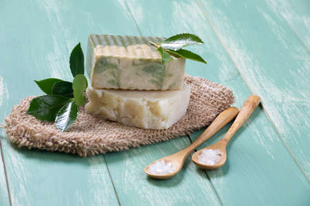 organic spa: Spa set - two bars of handmade organic soap, bath salt, and fresh flowers  Best suited for relaxing and health commercials