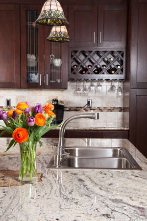 kitchen furniture: Modern house new contemporary luxury custom kitchen and refreshments on exotic granite countertop