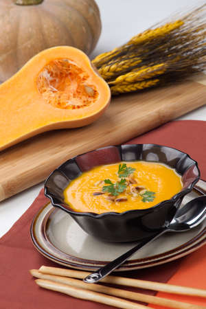 butternut squash: Hot delicious pumpkin soup in a bowl  Made from butternut squash  Garnished with roasted pine nuts, and fresh parsley  Stock Photo