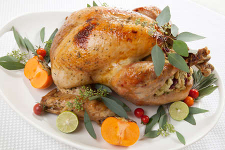 Garnished roasted turkey with tropical fruits over white background for Thanksgiving photo