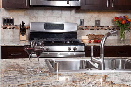 granite: Modern house new contemporary luxury custom kitchen and refreshments on exotic granite countertop