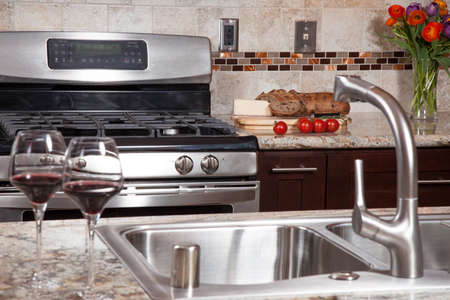 brown granite: Modern house new contemporary luxury custom kitchen and refreshments on exotic granite countertop