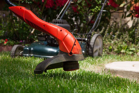 electric trimmer: trimming lawn with electric edge trimmer  Stock Photo