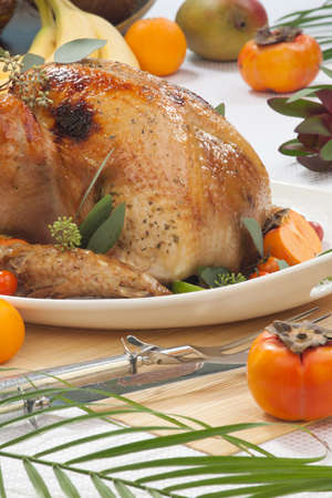 Garnished roasted turkey with tropical fruits photo