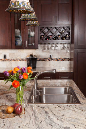 counter top: Modern house new contemporary luxury custom kitchen and refreshments on exotic granite countertop