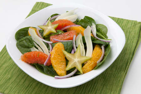 Baby spinach citrus salad with star fruit and fennel  Stok Fotoğraf