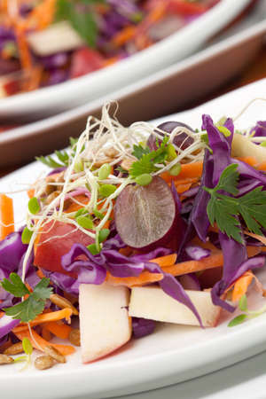 Closeup of red cabbage, carrot, and apple salad with sprouts, red grape, and roasted sunflower seeds served for healthy lunch photo