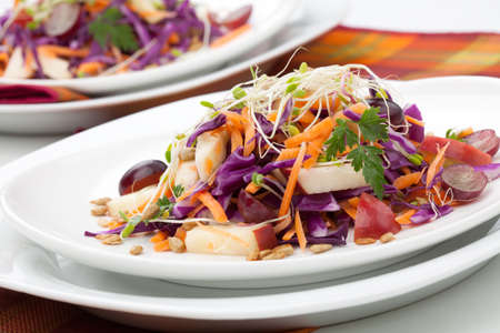 Closeup of red cabbage, carrot, and apple salad with sprouts, red grape, and roasted sunflower seeds served for healthy lunch Zdjęcie Seryjne