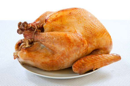 mouthwatering: Mouth-watering golden roasted turkey over white background, no garnish.