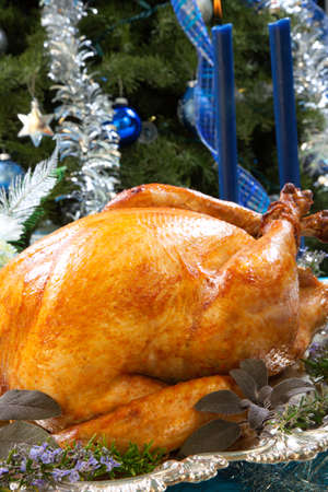 roasted turkey: Roasted turkey garnished with herbs on blue Christmas decorations, and champagne. Christmas tree as background.