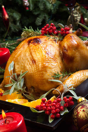 traditional celebrations: Roasted turkey garnished with sage, rosemary, and red berries in a tray prepared for Christmas dinner. Holiday table, candles and Christmas tree with ornaments. Stock Photo