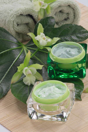 liniment: Closeup gorgeous blooming green colored Cattleyas orchid flowers and jars of cosmetics cream. Stock Photo