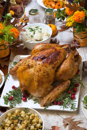 turkey: Roasted turkey garnished with cranberries on a rustic style table decoraded with pumpkins, gourds, asparagus, brussel sprouts, baked vegetables, pie, flowers, and candles. Stock Photo