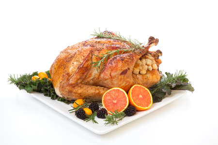 christmas dinner: Roasted stuffed turkey garnished with fresh fruits and herbs for holiday dinner.