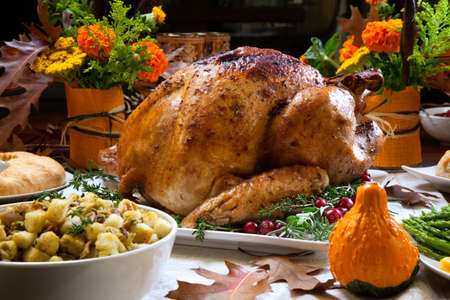 Roasted turkey garnished with cranberries on a rustic style table decoraded with pumpkins, gourds, asparagus, brussel sprouts, baked vegetables, pie, flowers, and candles. 版權商用圖片