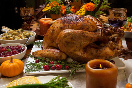 Roasted turkey garnished with cranberries on a rustic style table decoraded with pumpkins, gourds, asparagus, brussel sprouts, baked vegetables, pie, flowers, and candles. Stockfoto