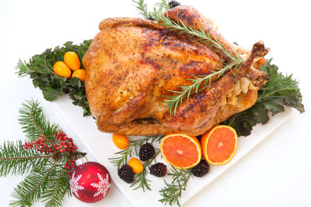christmas turkey: Roasted stuffed turkey garnished with fresh fruits and herbs for holiday dinner.