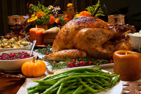 Roasted turkey garnished with cranberries on a rustic style table decoraded with pumpkins, gourds, asparagus, brussel sprouts, baked vegetables, pie, flowers, and candles. Reklamní fotografie