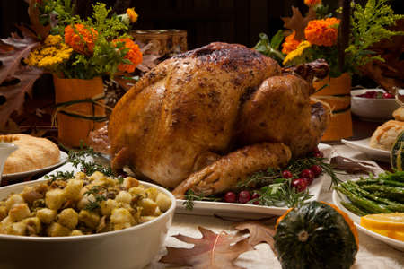 pumpkins gourds: Roasted turkey garnished with cranberries on a rustic style table decoraded with pumpkins, gourds, asparagus, brussel sprouts, baked vegetables, pie, flowers, and candles. Stock Photo