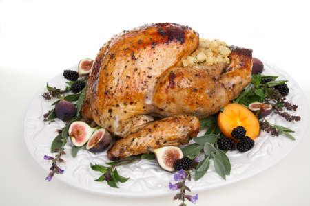 garnished: Glazed roasted turkey on serving tray over white background. Garnished with figs, blackberry, persimmon, sage, and basil. Stock Photo