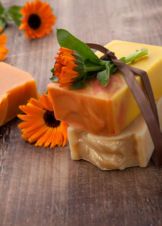 Spa set - handmade organic soap and fresh calendula. Best suited for relaxing and health commercials.