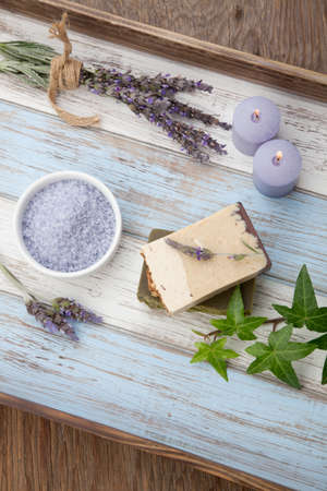 Spa set - handmade organic soap, fresh lavender, and bath salt. Scented candles. Best suited for relaxing and health commercials