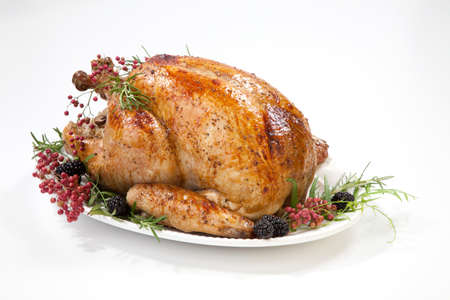 Thanksgiving pepper roasted turkey garnished with blackberry and pink peppercorn on white. Banco de Imagens