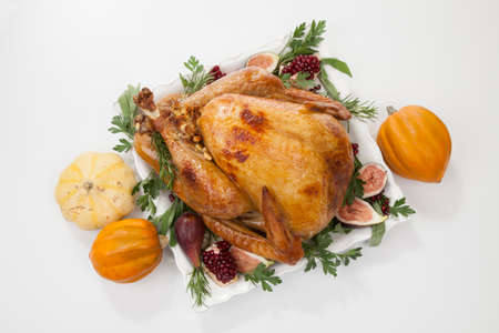 Garnished traditional roasted turkey for Thanksgiving, garnished with fresh figs, pomegranate, and herbs. On white background with pumpkins.