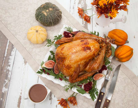 Garnished traditional roasted turkey for Thanksgiving