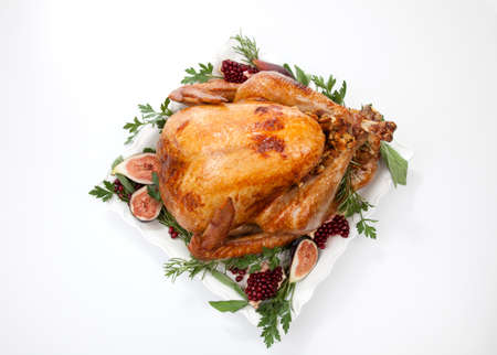 Garnished traditional roasted turkey Stok Fotoğraf - 133925820
