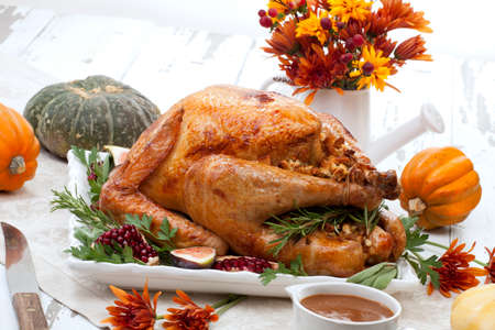 Garnished traditional roasted turkey for Thanksgiving Stok Fotoğraf - 133925824