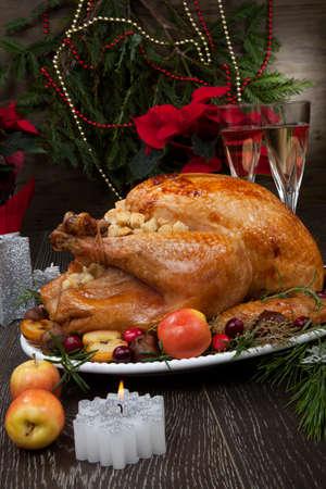 Garnished roasted Christmas turkey