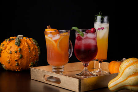 Closeup of Spicy Apple Cider, Pear Sparkler, and Whiskey-Cranberry cocktails on a tray with mini pumpkins. Fall Drinks series. Reklamní fotografie