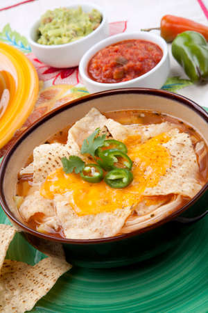 Closeup of a bowl of hot delicious spicy chicken nacho soup, garnished with melted cheese, jalapeno pepper, and fresh cilantro. Salsa, guacamole, and marinated hot pepper. Standard-Bild