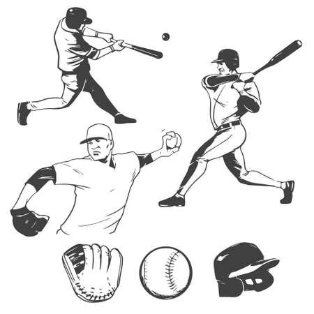 baseball: jugadores de béisbol ilustración de entintado Vectores