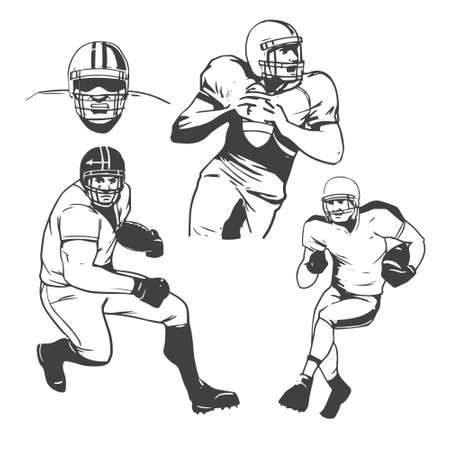 football american: American football players illustration inking