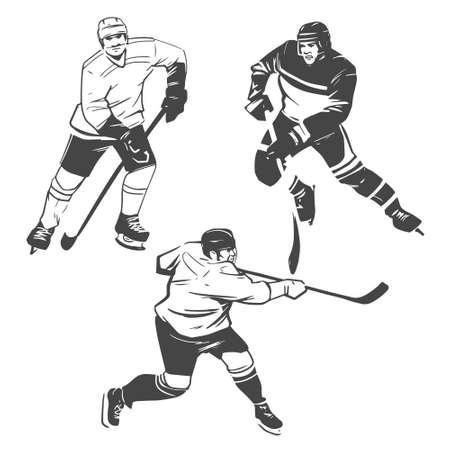 hockey players: hockey players illustration inking