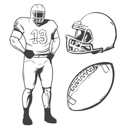 american football players illustration inking on isolated white background