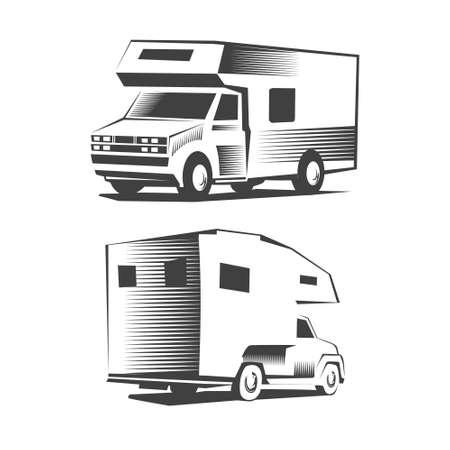 motor de carro: simple ilustración de obras de arte, icono, camión de camping