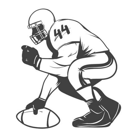 scramble: american football players illustration inking on isolated white background