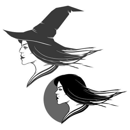 czarownica: Sylwetka głowy wiedźmy na tle pojedyncze, proste ilustracje
