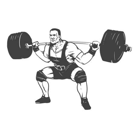 squat: powerlifting squat figure on isolated white background