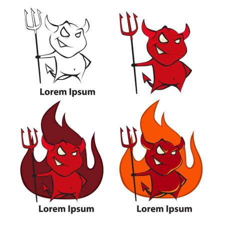 satanas: de dibujos animados diablo, simple ilustración Vectores