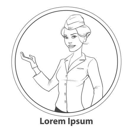 stewardess: beautiful stewardess on isolated background, simple illustration for your design
