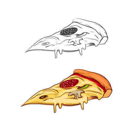salami: drawing of pizzas slice with salami Illustration